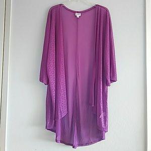 LuLaRoe Sheer Open Cardigan Size L.